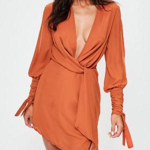 BRAND NEW- Orange slit sleeve knot front wrap dres